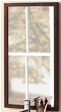 "18"" Alina Contemporary Solid Wood Framed Bathroom Mirror in Oak Toscana"