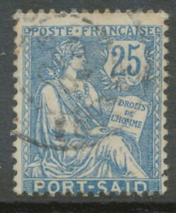 FRENCH POST IN EGYPT PORT SAID 1903 human rights 25 C VFU VARIETY: MISPERFORATED