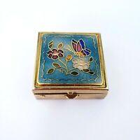 Vtg Pill Box 80s Brass Cloisonne Enamel 2 Compartment Butterfly Flowers #1