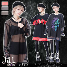 punk visual kei heavy rock pentagram charm breezy see through fishnet top JJ2297