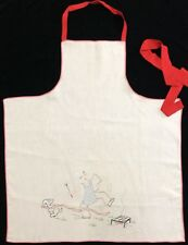 Vintage Embroidered BBQ Apron Grilling Steak Chef W/ Dog - Needs Repair (RF923)