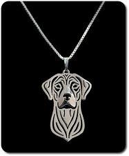 Halskette Set Kette + Anhänger Hund Kopf  Versilbert Deutsche Dogge Great Dane