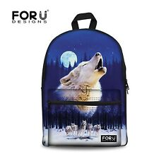 Wolf Pattern Backpack Canvas School Bag Teenage Boys Girls Bookbag Daypack New