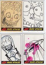Mars Attacks Heritage Sketch Card LOT of 4 Jason Hughes Dave Strong Sara! SKC