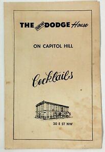 Vintage Cocktail Menu THE Grace DODGE HOUSE Hotel Capitol Hill Washington DC