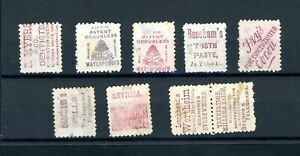 New Zealand Victoria 1d each with on  Reverse Advertisements  (9)      (O550)