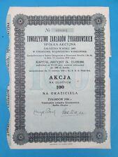 Akcja 1939 - Towarzystwo Zakladow Zyrardowskich - Action de zlotys 100 Au Porteu