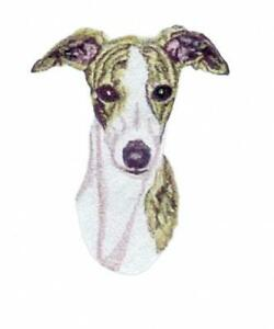 Machine Embroidered Whippet Applique sizes 4.8W X 6.0H or 2.7W X 3.3H