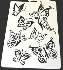 Wall Stencil Reusable Plastic Painting Stencils Template Butterfly No 6 + Brush