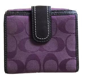 "Coach Signature Bi-fold Wallet PURPLE Snap Closures Leather Trim 4""x4""x1"""