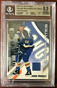 2001-2002 BAP ULTIMATE MEMORABILIA GAME-USED NAMEPLATES CHRIS PRONGER 48/50 8.5