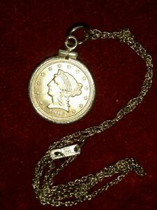 1903 US Liberty Head ($2.50)  Dollar Gold Coin in a Bezel & 14k Chain