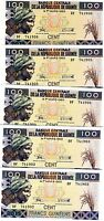 LOT Guinea 5 x 100 Francs, 2015 (2016), P-New, UNC > Resized, new sign, date