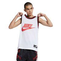 Nike Sportswear Embroidered Men's Mesh Basketball Jersey White size Large