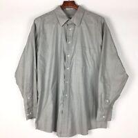 Joseph & Feiss Non Iron Mens Dress Shirt Gray Long Sleeve Cotton XXL 18 34 35