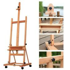 Large H-Frame Deluxe Adjustable 360-Degree Wheels Wood Studio Easel Red Beech