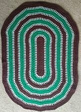 HAND MADE, DOUBLE  CROCHET, DECOR OVAL AREA RUG 100 cm x 70 cm