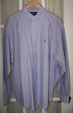 RALPH LAUREN POLO mens Stripe Classic Fit Shirt 100% Cotton BF BC Sz. 17 (XL)