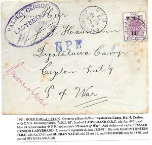 BOER WAR CENSORED COVER TO POW IN DIYATALAWA CAMP CEYLON Ex LADYBRAND.