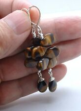 Quality Brown Tiger Eye Cluster Sterling Silver Earrings A0414