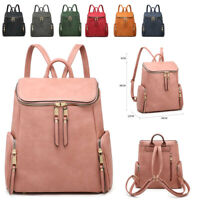 Ladies Girls Zips Backpack Faux Leather Rucksack Shoulder Bag Handbag MA36558