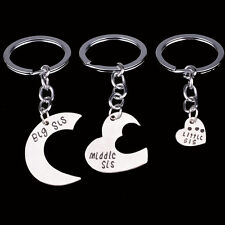 3 PIECE SISTER KEY CHAIN SET CHARM BIG MIDDLE LITTLE SIS KEY RING #KC52