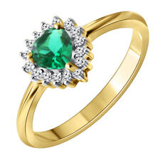 14K SOLID GOLD Women's Diamond Ring with Emerald stone