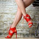 NEUF CHAUSSURES FEMME ESCARPINS talons hauts sexy Sandalettes fête NOIR ROUGE