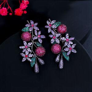 Unique Purple Red CZ Women Big Long Drop Flower Leaf Earrings Black Gun Jewelry