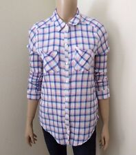 Hollister Womens Plaid Shirt Size Medium Button Down Top Blouse White Pink Blue