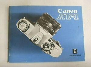 Canon AV-1 Film SLR instruction book