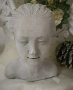 Bust Stature Sculpture Grey Shabby Vintage Landhaus Garden Decoration 20x17cm