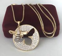 Lange Halskette Biene Anhänger mit Swarovski®Kristallen 750er Gold 18K vergoldet