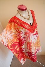 TROPICAL PRINT White Red Orange KAFTAN TOP Size L XL 18 Gold Yellow Cocktail Eve