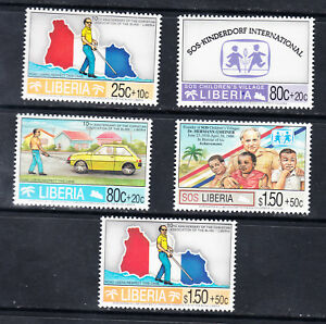 Liberia # B26-30 Complete 1995 Christian Assn. of the Blind Semi Postal Set