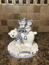 Encore Snow Buddies Snowman Pals Riding Polar Bear Alaska Figurine