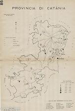 Provincia Catania: Comuni nel 1938.Etna.Carta Topografica. Anno XVI Era Fascista