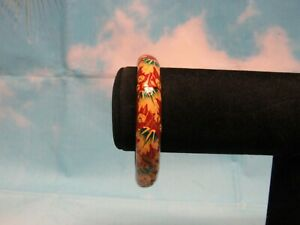 "Wood Bracelet Brown with White and Green Flowers 2 1/2"" Diameter"