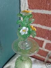 VINTAGE HAND BLOWN VENETIAN MURANO ART GLASS FLORAL PERFUME COLOGNE BOTTLE