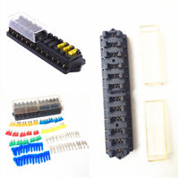 Durable 12 Middle-sized Bade Fuses Automotive Fuse Box W/Terminal Set Universal