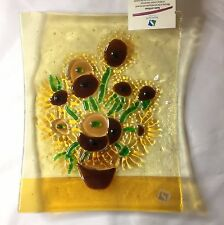 Sebino Arte Italian Fused Glass Plate Handmade Van Gogh Sunflowers 7.5 by 9.5 In
