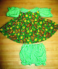"""GREEN CHECK GINGHAM+FLOWER PAISLEY CALICO DRESS+PANTY for 16"""" CPK Cabbage Patch"""