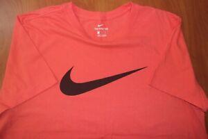 Nike Air Swoosh Big Logo Regular Fit Coral Pink Cotton T-Shirt XL
