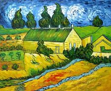 """Van gogh Replica Oil Painting """"Cottages with Thatched Roofs"""" - 24""""x20"""" Stretched"""