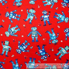 BonEful Fabric Cotton Quilt Red White Blue American Robot Boy VTG Toy Box SCRAP