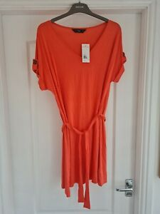 F&F Coral Pink Belted T Shirt Dress Size 12 BNWT