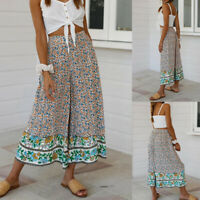 Women's Floral Printed High Waist Loose Straight Wide Leg Pants Casual Trousers