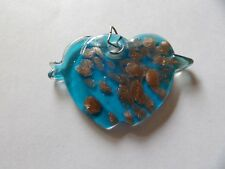 UNUSUAL TURQUOISE & COPPER AVENTURINE LARGE CHICK / BIRD PENDANT MD49
