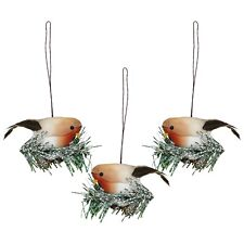 Pack of 3 Christmas Tree Hanging Robins Bird Feather Hanging Pendant Decorations