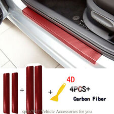 4PC Accessories 4D Red Carbon Fiber Car Grain Stickers Door Sill Scuff Plate Kit